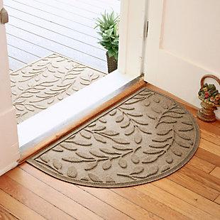 "Home Accent Aqua Shield Brittany Leaf 24"" x 39"" Half Round Doormat, Khaki, rollover"