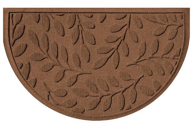 """Home Accent Aqua Shield Brittany Leaf 24"""" x 39"""" Half Round Doormat, Dark Brown, large"""