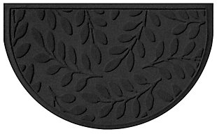 "Home Accent Aqua Shield Brittany Leaf 24"" x 39"" Half Round Doormat, Charcoal, large"