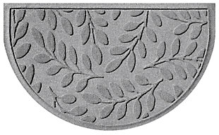 "Home Accent Aqua Shield Brittany Leaf 24"" x 39"" Half Round Doormat, Medium Gray, large"