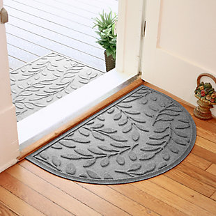 "Home Accent Aqua Shield Brittany Leaf 24"" x 39"" Half Round Doormat, Medium Gray, rollover"