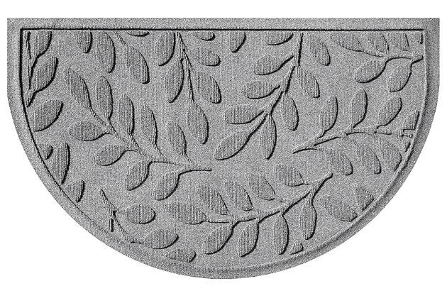 "Home Accent Aqua Shield Brittany Leaf 24"" x 39"" Half Round Doormat, Medium Gray, large"