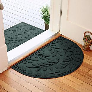 "Home Accent Aqua Shield Brittany Leaf 24"" x 39"" Half Round Doormat, Evergreen, rollover"