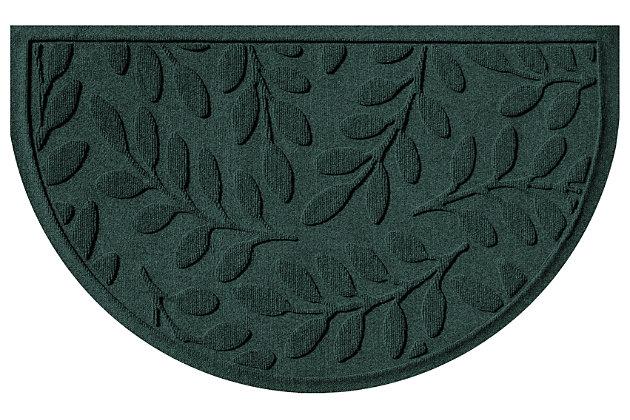 "Home Accent Aqua Shield Brittany Leaf 24"" x 39"" Half Round Doormat, Evergreen, large"