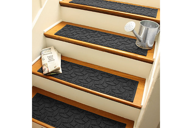 Home Accent Aqua Shield Elipse Stair Treads (Set of 4), Charcoal, large