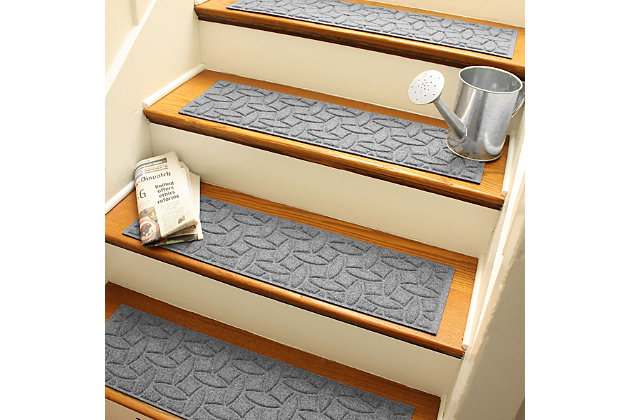 Home Accent Aqua Shield Elipse Stair Treads (Set of 4), Medium Gray, large