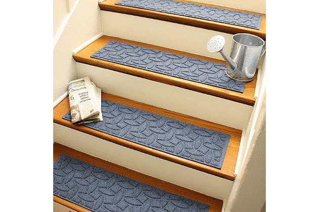 Home Accent Aqua Shield Elipse Stair Treads (Set of 4), Bluestone, large