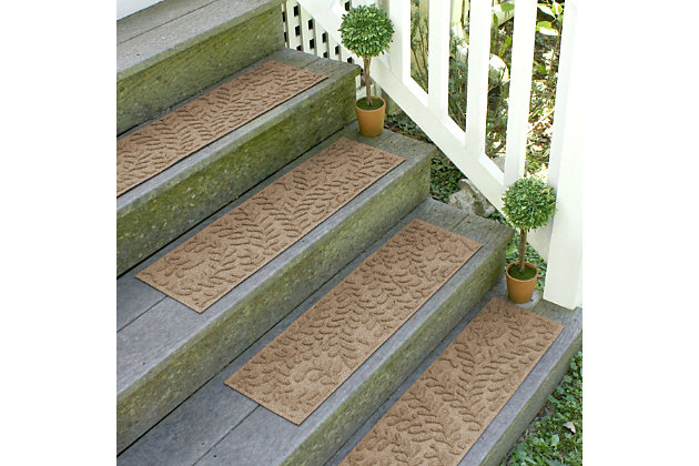 Home Accent Aqua Shield Boxwood Stair Treads (Set of 4), Khaki, large