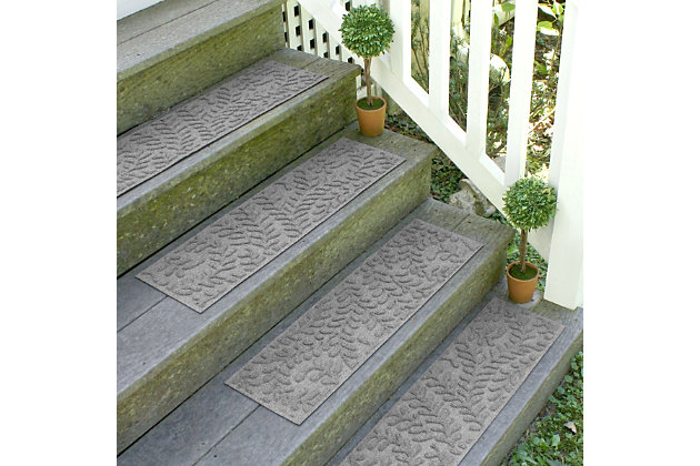 Home Accent Aqua Shield Boxwood Stair Treads (Set of 4), Medium Gray, large