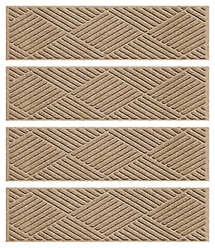 Home Accent Aqua Shield Diamonds Stair Treads (Set of 4), Khaki, large