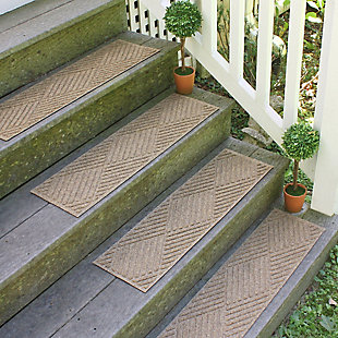 Home Accent Aqua Shield Diamonds Stair Treads (Set of 4), Khaki, rollover