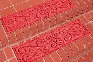 Home Accent Aqua Shield Scroll Stair Treads (Set of 4), Red, rollover