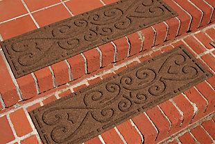 Home Accent Aqua Shield Scroll Stair Treads (Set of 4), Dark Brown, large