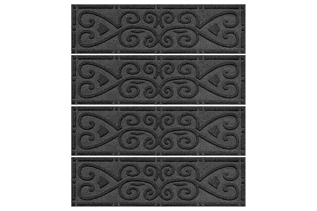 Home Accent Aqua Shield Scroll Stair Treads (Set of 4), Charcoal, large