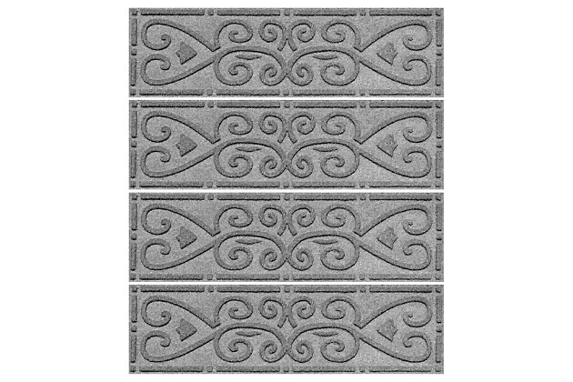 Home Accent Aqua Shield Scroll Stair Treads (Set of 4), Medium Gray, large