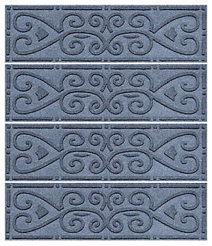 Home Accent Aqua Shield Scroll Stair Treads (Set of 4), Bluestone, large