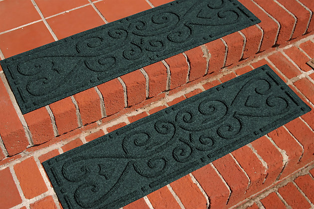 Home Accent Aqua Shield Scroll Stair Treads (Set of 4), Evergreen, large
