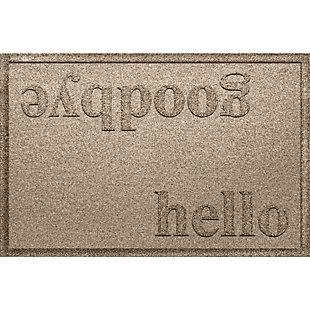 Home Accent Aqua Shield Hello/Goodbye 2' x 3' Doormat, Camel, large