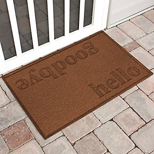 Home Accent Aqua Shield Hello/Goodbye 2' x 3' Doormat, Dark Brown, large