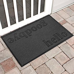 Home Accent Aqua Shield Hello/Goodbye 2' x 3' Doormat, Charcoal, large