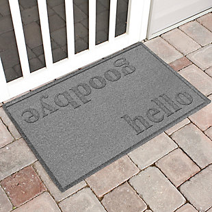 Home Accent Aqua Shield Hello/Goodbye 2' x 3' Doormat, Medium Gray, large