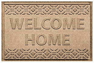 Home Accent Aqua Shield Welcome Home 2' x 3' Doormat, Khaki, large