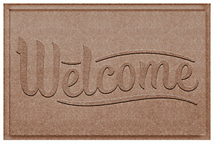 Home Accent Aqua Shield Simple Welcome 2' x 3' Doormat, Khaki, rollover