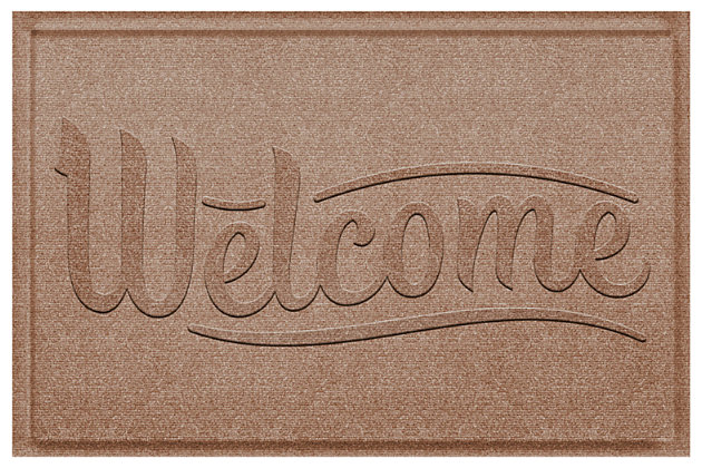 Home Accent Aqua Shield Simple Welcome 2' x 3' Doormat, Khaki, large