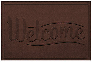 Home Accent Aqua Shield Simple Welcome 2' x 3' Doormat, Dark Brown, large