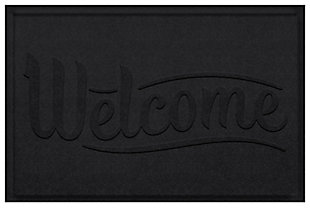 Home Accent Aqua Shield Simple Welcome 2' x 3' Doormat, Charcoal, large