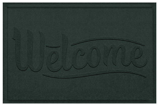 Home Accent Aqua Shield Simple Welcome 2' x 3' Doormat, Evergreen, large