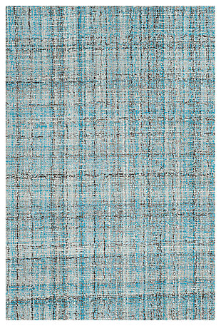 Abstract 3' x 5' Area Rug, Blue, large