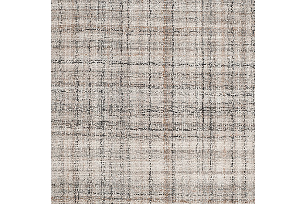 Abstract 3' x 5' Area Rug, Black/Beige, large