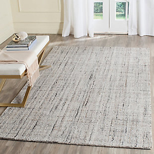 Abstract 5' x 8' Area Rug, Black/Beige, rollover