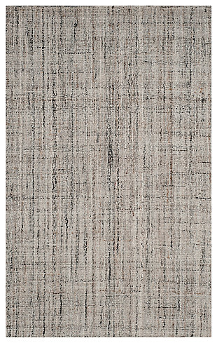 Abstract 5' x 8' Area Rug, Black/Beige, large