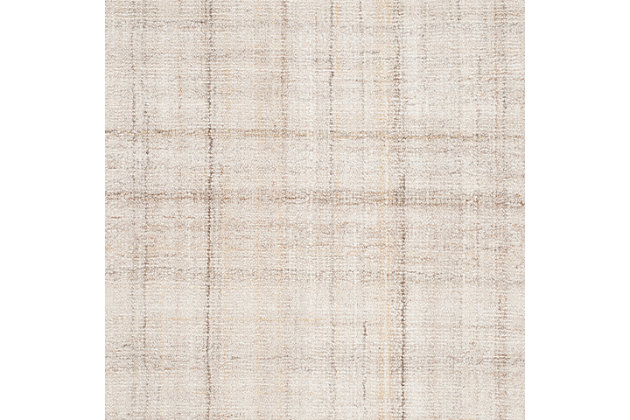 Abstract 3' x 5' Area Rug, Beige/White, large