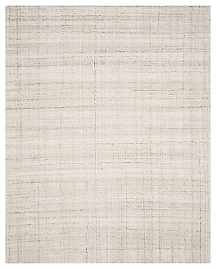Abstract 8' x 10' Area Rug, Beige/White, large