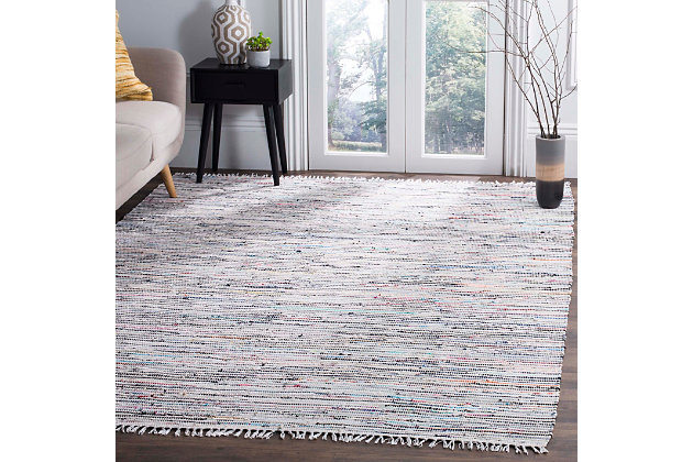 Rag 5' x 7' Area Rug, Gray/White, large