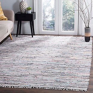 Rag 6' x 9' Area Rug, Gray/White, large