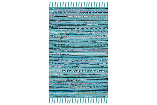 Rag 3' x 5' Doormat, Blue/Purple, large