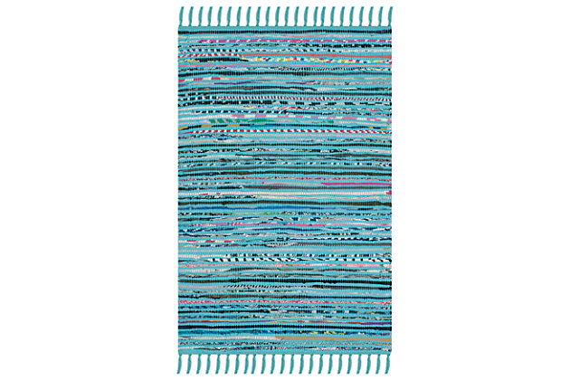 Rag 5' x 7' Area Rug, Blue/Purple, large