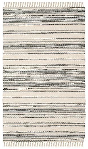 Rag 5' x 8' Area Rug, Gray/White, large