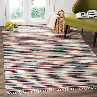 Rag 5' x 8' Area Rug, Red/White, rollover