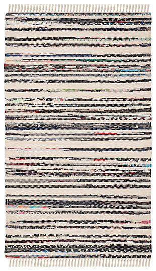 Rag 3' x 5' Doormat, Black/White, large