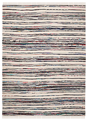 Rag 5' x 8' Area Rug, Black/White, large