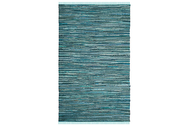 Rag 6' x 9' Area Rug, Blue, large