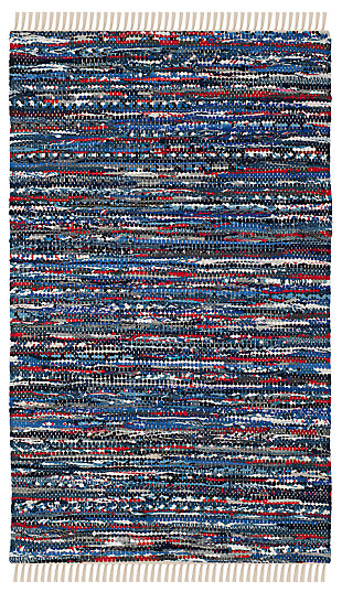 Rag 3' x 5' Doormat, Blue/Red, rollover