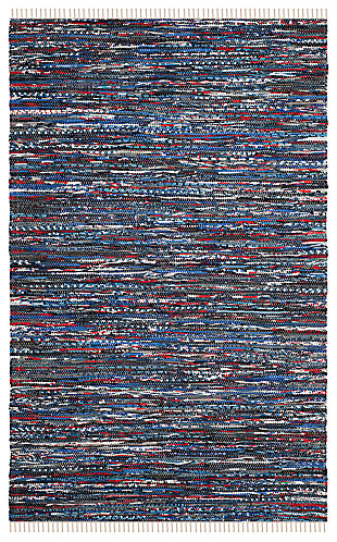 Rag 5' x 8' Area Rug, Blue/Red, rollover
