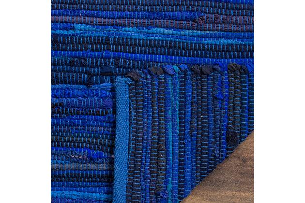 Rag 5' x 8' Area Rug, Blue, large
