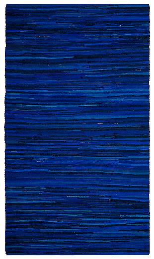 Rag 6' x 9' Area Rug, Blue, large